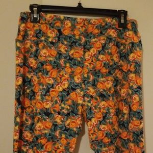 ❤LuLaRoe TC Leggings orange roses